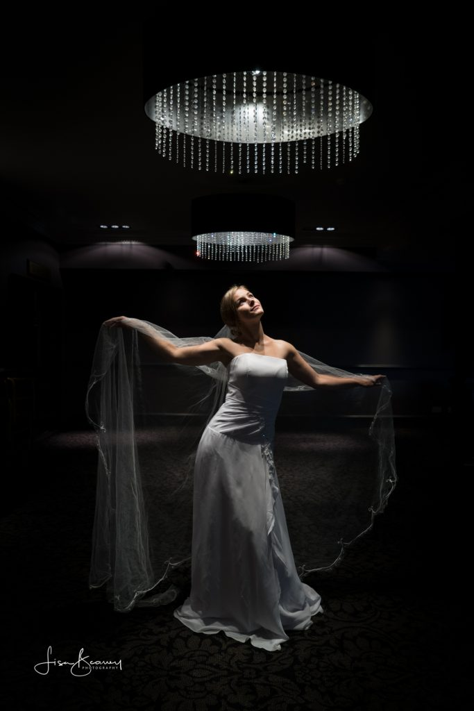 Bride under light