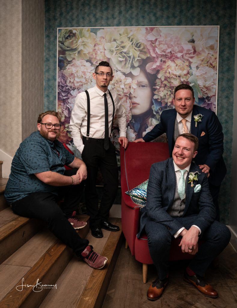 Groom and friends with the ZEISS Batis 25